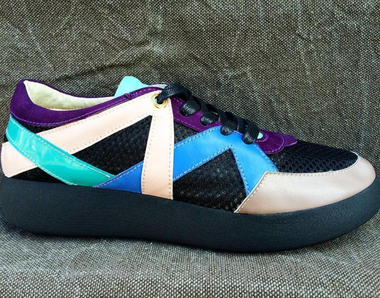 Женские кроссовки чёрная сетка+бежевая+фиолетовая+синяя кожа