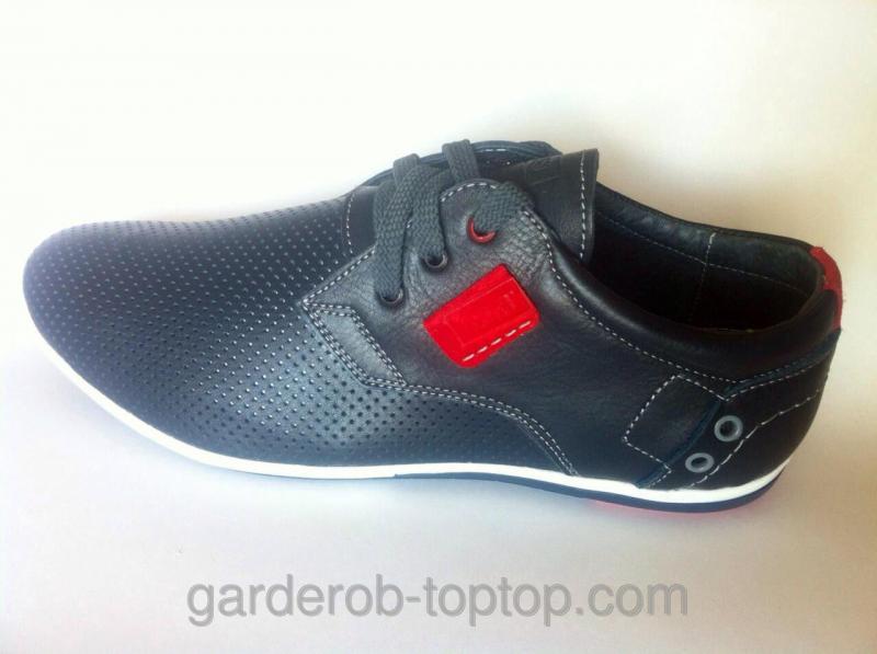 Мужские кроссовки чёрная кожа