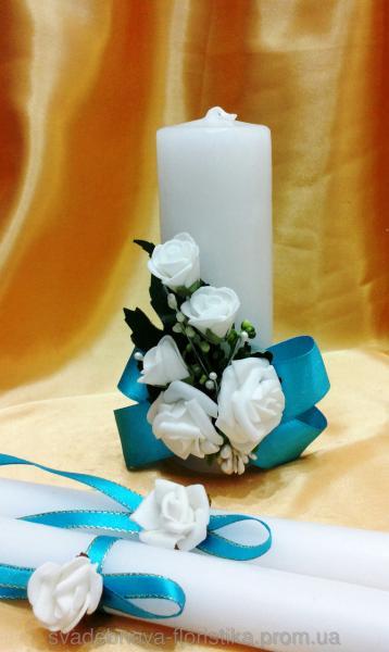 Свадебные свечи с бирюзовой лентой