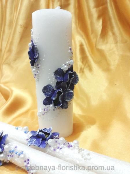 """Свадебные свечи """"Букет орхидей"""" фиолетовые."""