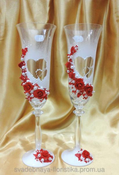 """Свадебные бокалы """"Два сердце"""" красные."""