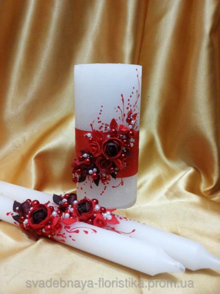 """Свадебные свечи """"Пионы"""" красные."""