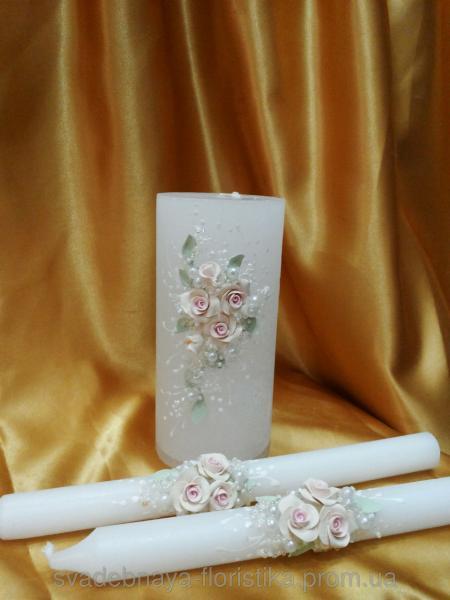 """Свадебные свечи """"Ветка розы"""""""