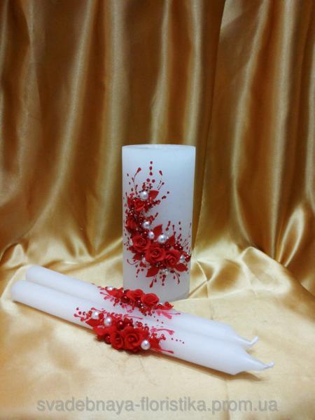 """Свадебные свечи """"Ветка розы"""" красные."""
