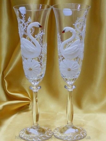 """Свадебные бокалы """"Белые Лебеди"""""""