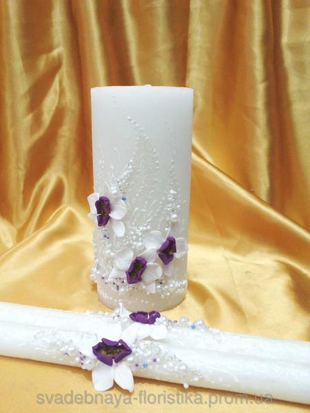 """Свадебные свечи """"Букет орхидей"""" бело/фиолетовые."""