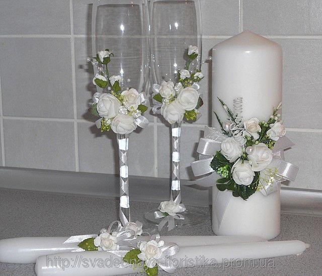 Свадебный комплект ручной работы в белом цвете