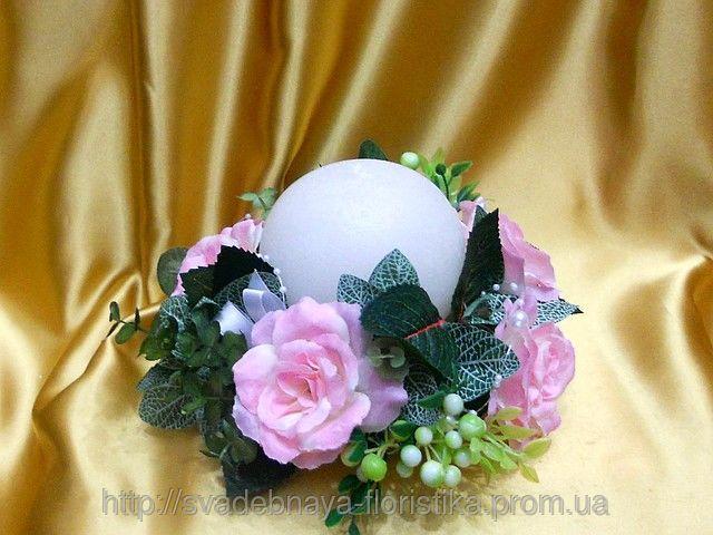 """Свадебная свеча """"Семейный очаг"""" розовый"""