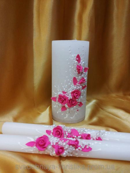 """Свадебные свечи  """"Ветка розы"""" малиновые."""