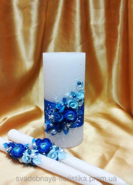 """Свадебные свечи """"Пионы"""" в синем цвете."""