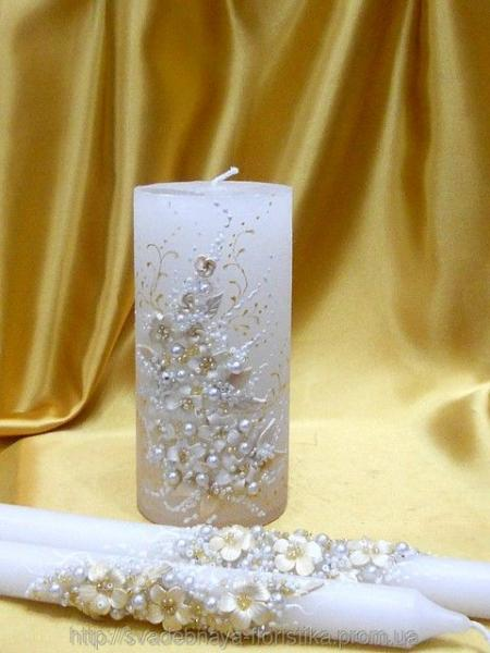 """Свадебные свечи """"Белые цветы"""""""
