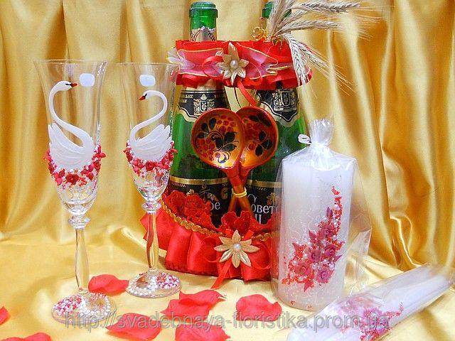Свадебные аксессуары в красно/бело цвете.