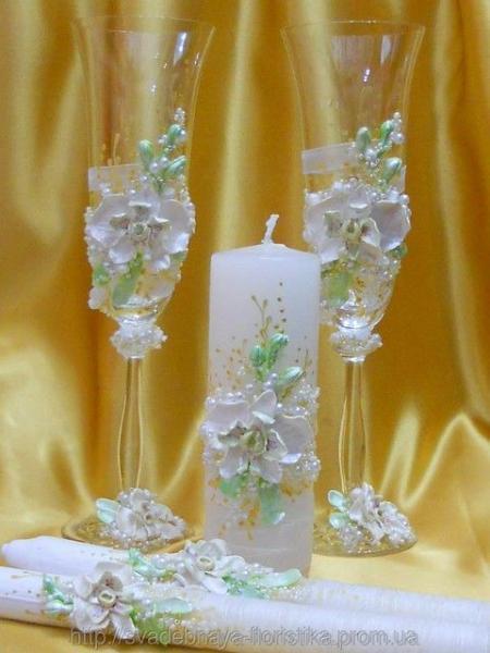 """Свадебные бокалы и свечи """"Орхидея""""."""