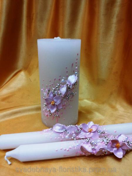 """Свадебные свечи """"Розовая магнолия"""""""