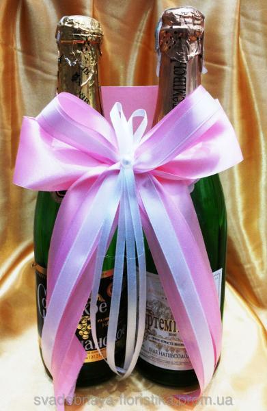 Украшения на шампанское розовое.