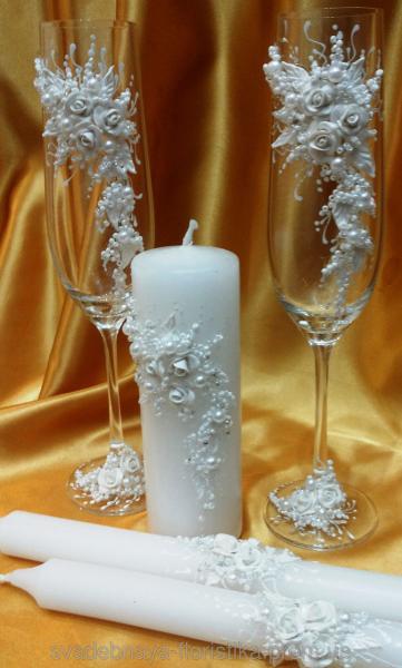 """Свадебные бокалы и свечи """"Белая ветка""""."""