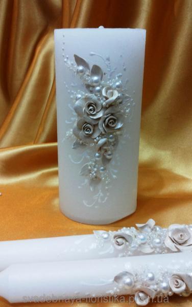 """Свадебные свечи """"Ветка розы"""" бежевая."""