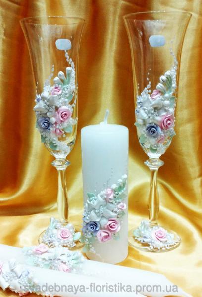 """Свадебные бокалы и свечи"""" Свадебная поляна"""""""