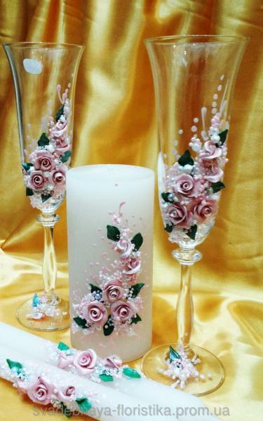 """Бокалы и свечи """"Розовый букет"""""""