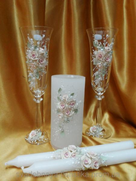 """Свадебные бокалы и свечи """"Ветка розы"""""""