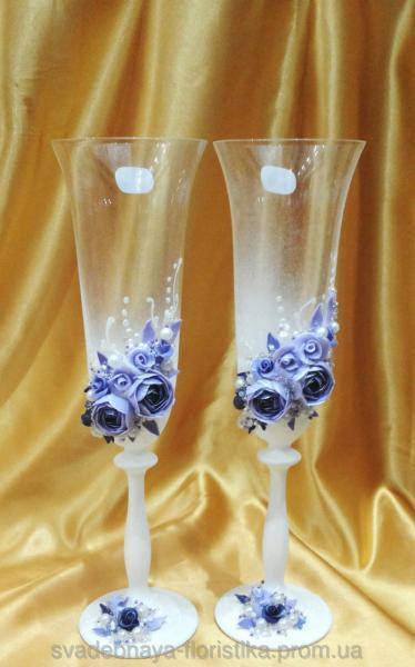 """Свадебные бокалы """"Пионы"""" в бело/сиреневом цвете."""