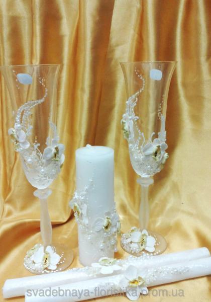 """Свадебный комплект """"Букет орхидей"""" белый."""