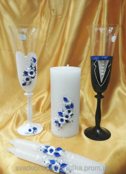 """Свадебный комплект """"Жених и Невеста"""" в бело/синем цвете."""