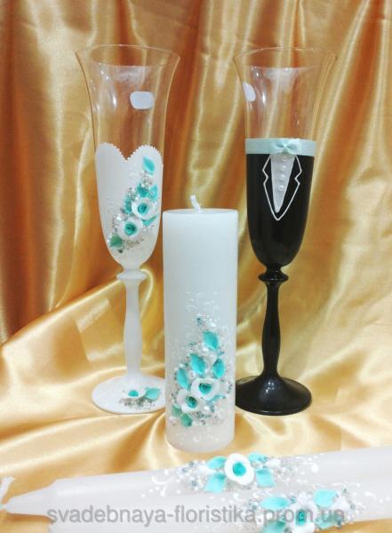 """Свадебный комплект """"Жених и Невеста"""" в бело/мятном цвете."""