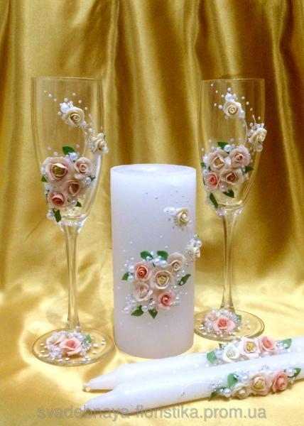 """Свадебные бокалы и свечи  """"Свадебный букет нежность"""""""