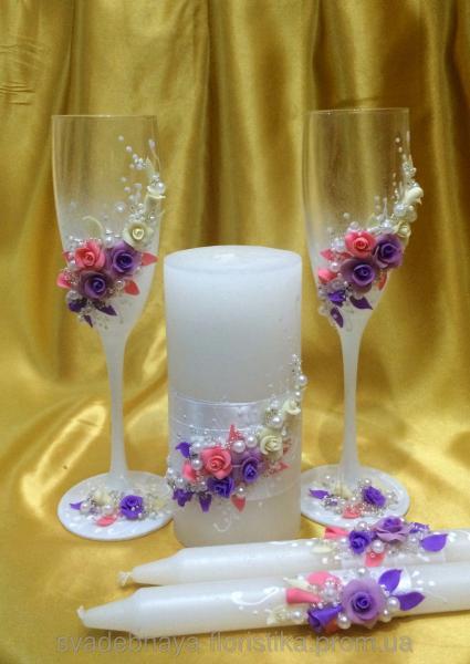 """Свадебные бокалы и свечи """"Свадебный букет"""""""