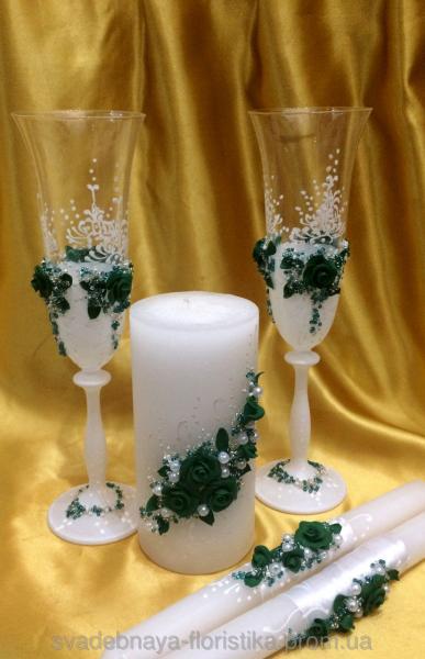"""Свадебные бокалы и свечи  """"Изумрудные"""""""
