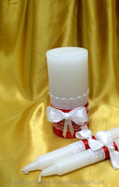 """Свадебный набор свечей  """"Красное кружево""""."""