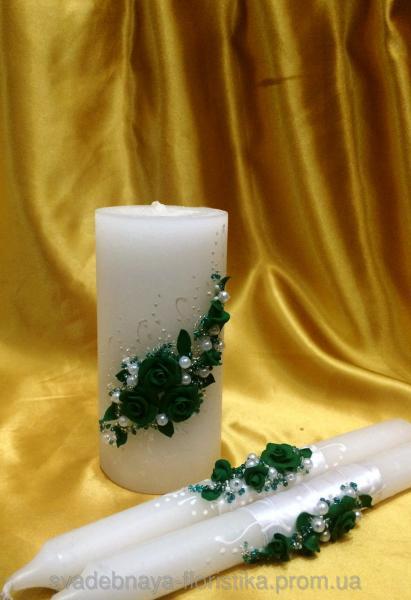 """Свадебные свечи """"Изумрудные""""."""