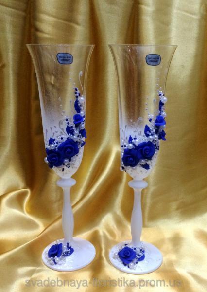 """Свадебные бокалы """"Синие розы"""""""