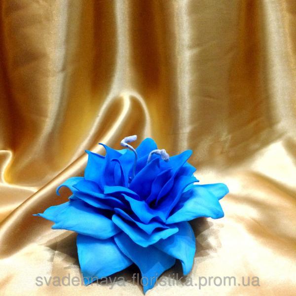 """Подставка для обручальных колец """"Цветок"""" синяя."""