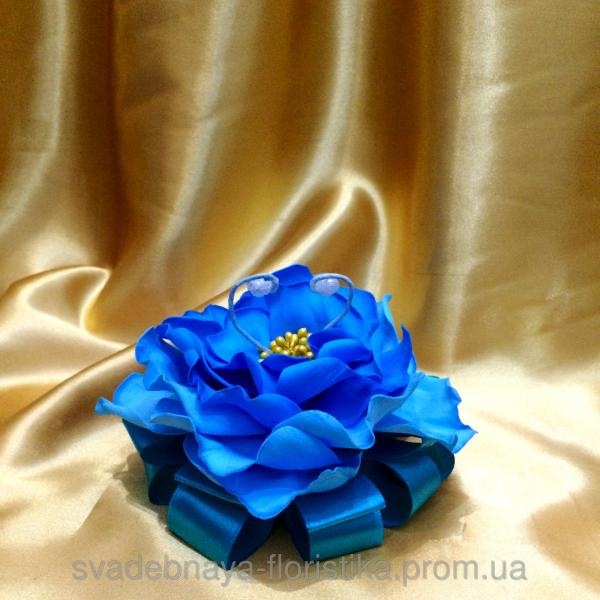 """Подставка для обручальных колец """"Синий цветок"""""""