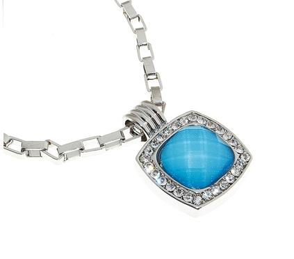 """Кулон """"Квадрат небесный"""", цвет голубой в серебре"""