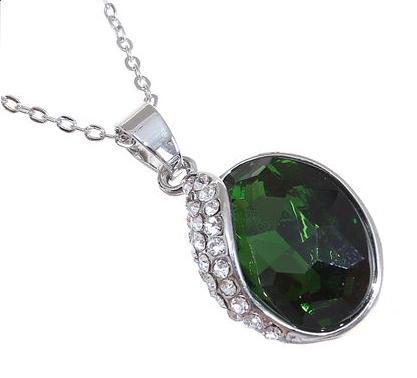 """Кулон """"Овал"""", цвет зеленый в серебре"""