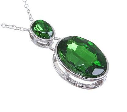 """Кулон """"Овал"""" двойной, цвет зеленый в серебре"""