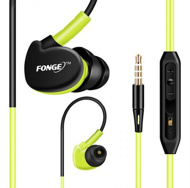 FONGE IPX5 Водонепроницаемые спортивные наушники с микрофоном hi-fi стерео бас с креплением-крючком