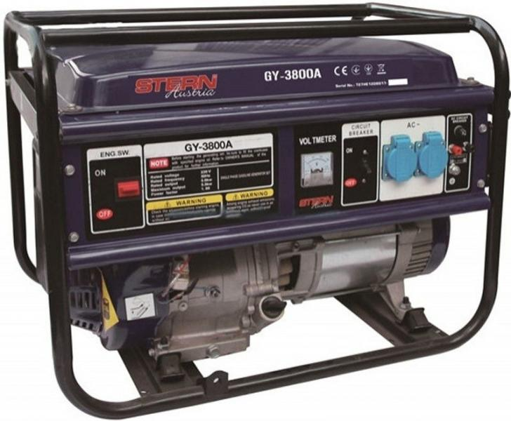 Генератор, GY - 3000A Аккумулятор в комплекте  нет Тип топлива  Бензин Объем топливного бака л 25 Вес кг 86 Максимальная мощность кВт 5,2 Номинальная мощность кВт 5 Вес  86 кг Комплектация  Упаковка Гарантия  12 месяцев Тип двигателя  4-х тактный Мощность