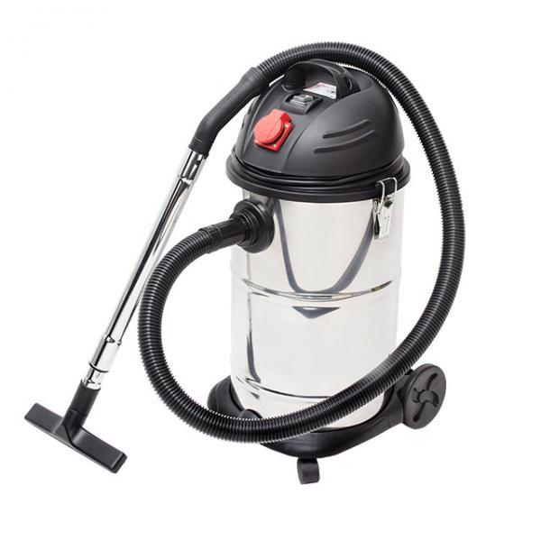 Пылесос промышленный 30 л, корпус из нерж стали, 1400 Вт, cухая, влажная уборка, многоразовый спонж-фильтр, фильтр-пакет INTERTOOL DT-1030