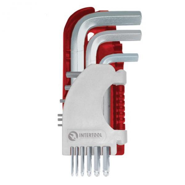 Набор Г-образных шестигранных ключей 9 шт. с шарообразным наконечником, 1,5-10 мм, S2, PROF INTERTOOL HT-1813