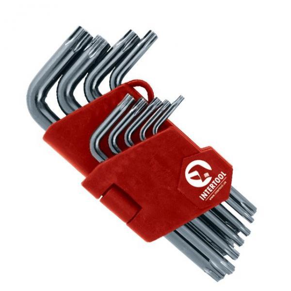 Набор Г-образных ключей TORX с отверстием 9 шт., Т10-Т50, Cr-V, Small INTERTOOL HT-1831