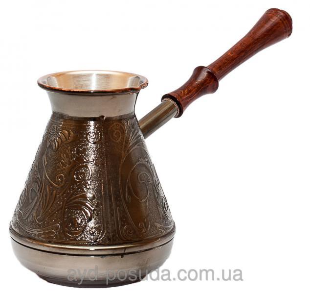 Турка медная с темной ручкой Пятигорск Станица 500 мл Код товара 00430