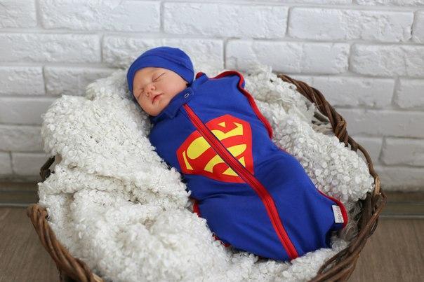"""Евро пеленка кокон на молнии Half + шапочка """"Супермен"""""""