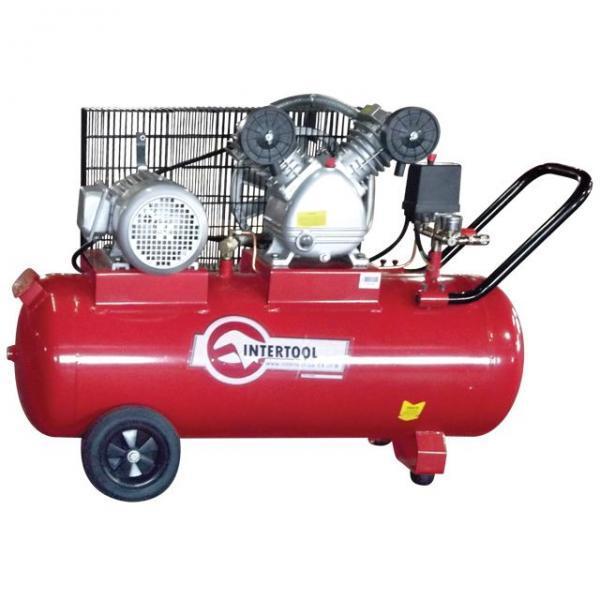 Компрессор 100 л, 4 HP, 3 кВт, 380 В, 8 атм, 500 л/мин, 2 цилиндра INTERTOOL PT-0013