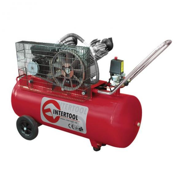 Компрессор 100 л, 4 HP, 3 кВт, 220 В, 8 атм, 500 л/мин, 2 цилиндра INTERTOOL PT-0014