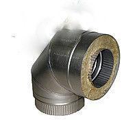 Колено 90˚ для дымохода из нержавеющей стали с термоизоляцией в оцинкованном кожухе d 150/220