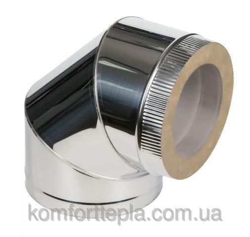 Колено 90˚ для дымохода из нержавеющей стали с термоизоляцией (нерж/нерж) d 110/180